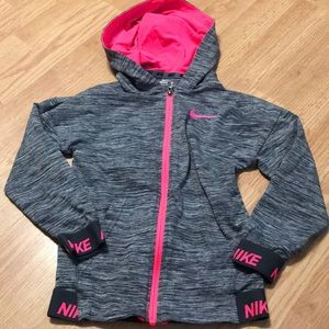 Nike Girls full zip hoodie size 4-5 dri-fit